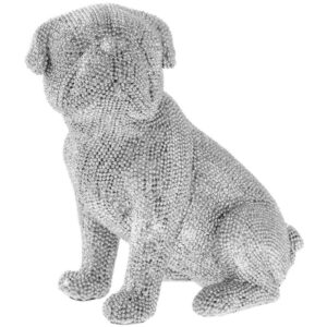 Sitting Pug Pet Ornament Silver Art Sparkling Diamante Dog