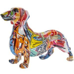 Graffiti Dachshund Figurine Colourful Modern Art Ornament
