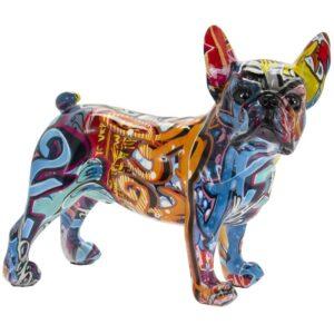 Graffiti French Bulldog Statue Art Resin Figurine Ornament Abstract Decor