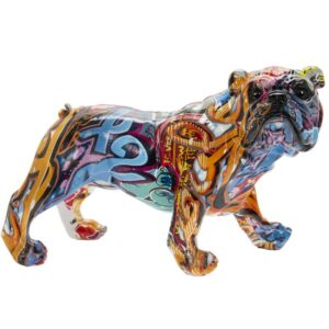 Graffiti Bulldog Statue Art Resin Figurine Ornament Abstract Decor