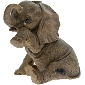 Sitting Baby Elephant Statue Teardrop Home Figurine Ornament