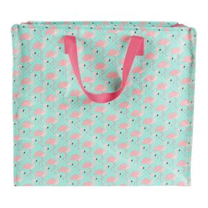 Tropical Flamingo Zipped Laundry Bag / Recycled Tote / Grocery / Large