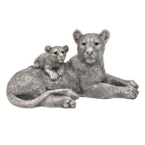 Lions Sculpture l Silver Lion Statue & Baby Cub - Perk Up Your Day