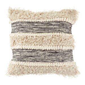 Scandi Boho Cushion / Stripe - Cream & Black