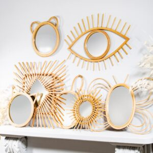 Sunburst Rattan Mirror / Mini Standing Mirror